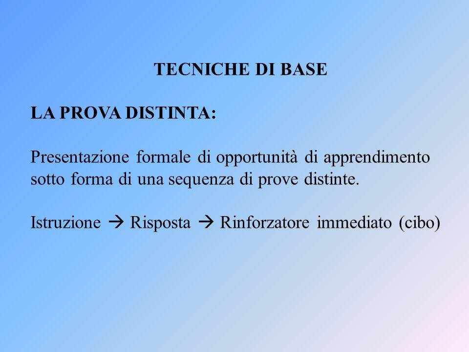 TECNICHE DI BASE LA PROVA DISTINTA: Presentazione formale di opportunità di apprendimento sotto forma di una sequenza di prove distinte. Istruzione Ri