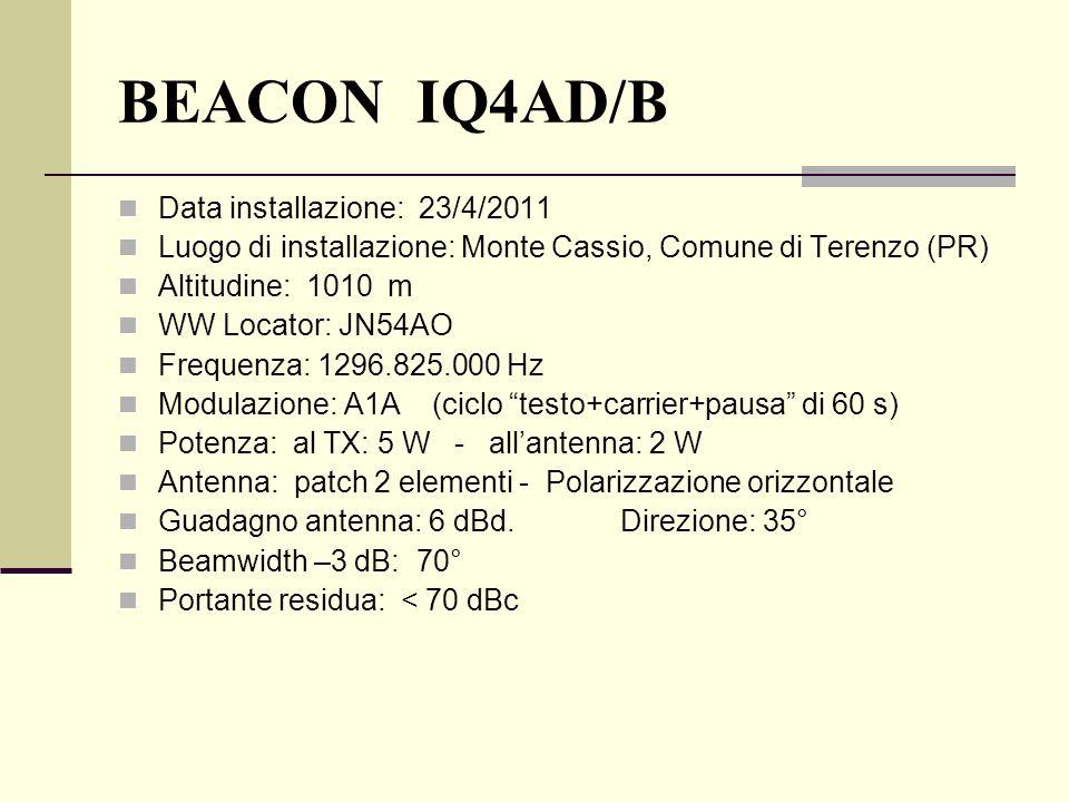 BEACON IQ4AD/B Data installazione: 23/4/2011 Luogo di installazione: Monte Cassio, Comune di Terenzo (PR) Altitudine: 1010 m WW Locator: JN54AO Freque