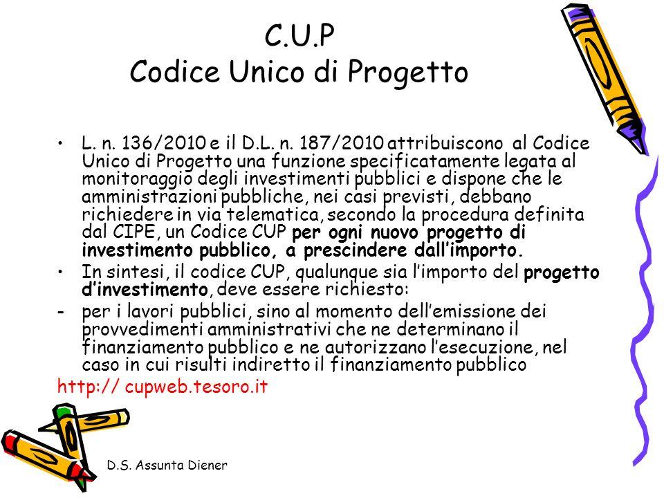 D.S.Assunta Diener C.U.P Codice Unico di Progetto L.