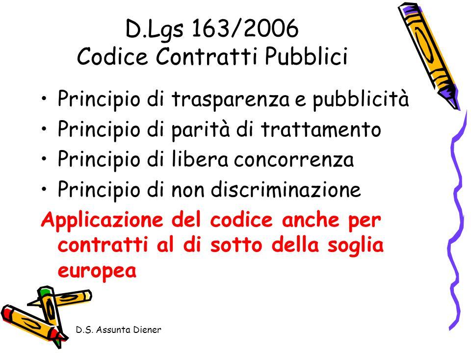 D.S. Assunta Diener D.Lgs 163/2006 Codice Contratti Pubblici Principio di trasparenza e pubblicità Principio di parità di trattamento Principio di lib