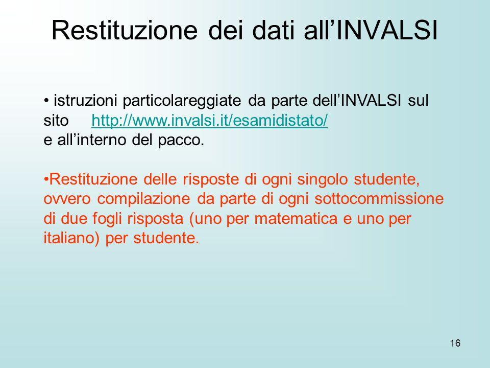 16 istruzioni particolareggiate da parte dellINVALSI sul sito http://www.invalsi.it/esamidistato/http://www.invalsi.it/esamidistato/ e allinterno del