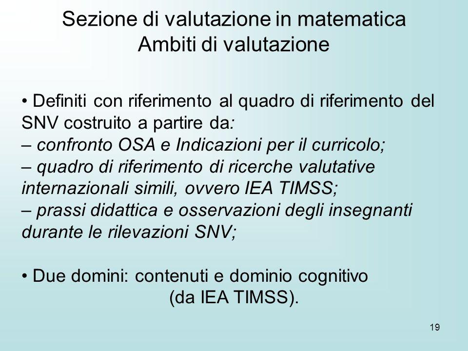 19 Definiti con riferimento al quadro di riferimento del SNV costruito a partire da: – confronto OSA e Indicazioni per il curricolo; – quadro di rifer