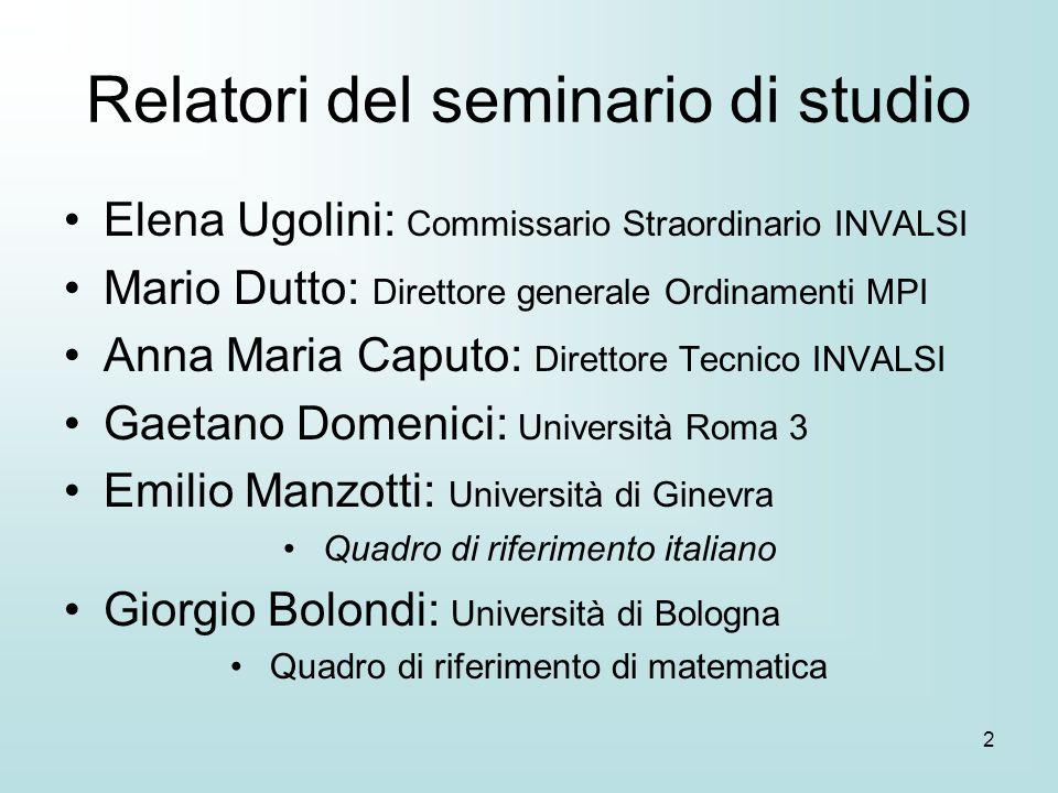 2 Relatori del seminario di studio Elena Ugolini: Commissario Straordinario INVALSI Mario Dutto: Direttore generale Ordinamenti MPI Anna Maria Caputo: