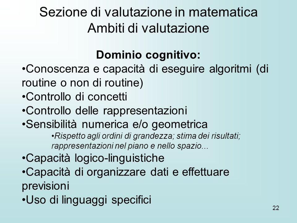 22 Dominio cognitivo: Conoscenza e capacità di eseguire algoritmi (di routine o non di routine) Controllo di concetti Controllo delle rappresentazioni
