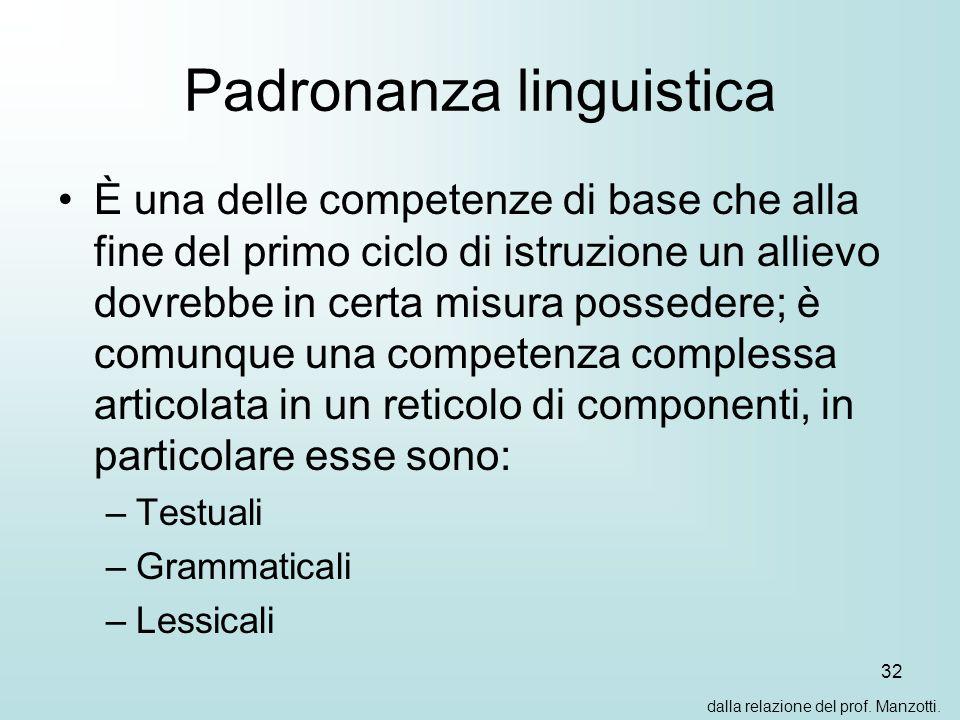 32 Padronanza linguistica È una delle competenze di base che alla fine del primo ciclo di istruzione un allievo dovrebbe in certa misura possedere; è
