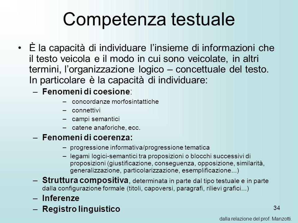 34 Competenza testuale È la capacità di individuare linsieme di informazioni che il testo veicola e il modo in cui sono veicolate, in altri termini, lorganizzazione logico – concettuale del testo.
