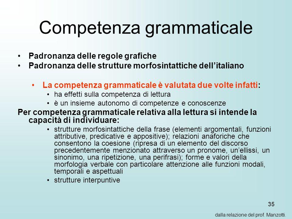 35 Competenza grammaticale Padronanza delle regole grafiche Padronanza delle strutture morfosintattiche dellitaliano La competenza grammaticale è valu