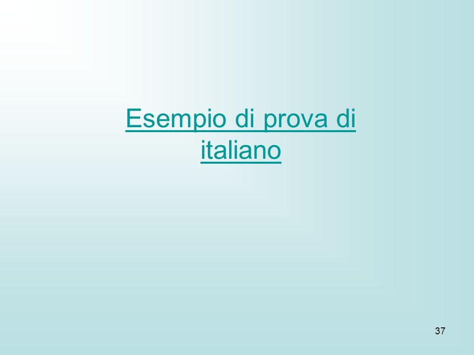37 Esempio di prova di italiano