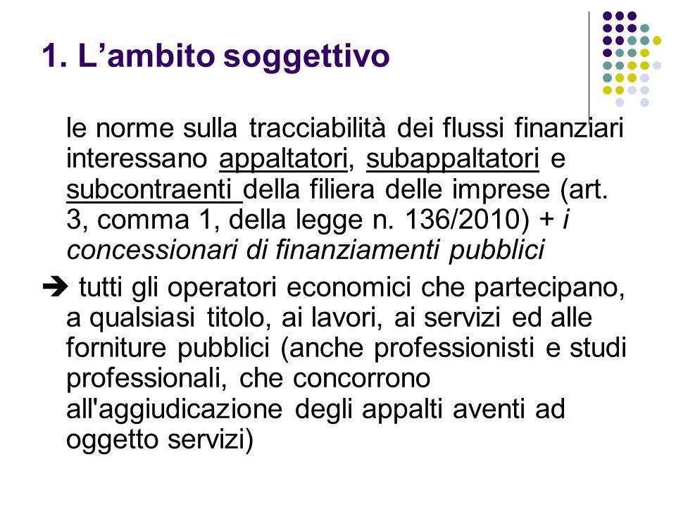 1. Lambito soggettivo le norme sulla tracciabilità dei flussi finanziari interessano appaltatori, subappaltatori e subcontraenti della filiera delle i