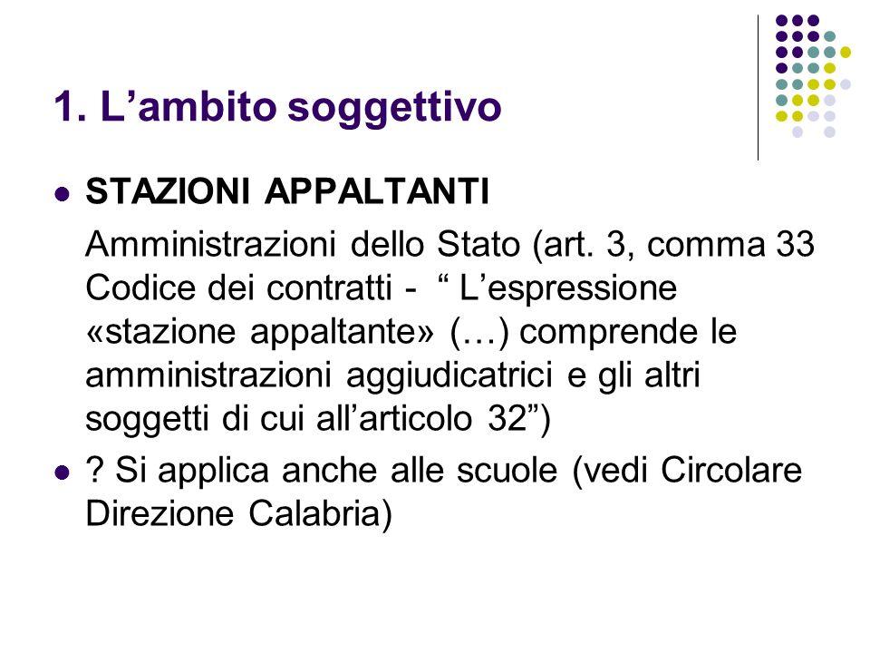 1. Lambito soggettivo STAZIONI APPALTANTI Amministrazioni dello Stato (art. 3, comma 33 Codice dei contratti - Lespressione «stazione appaltante» (…)