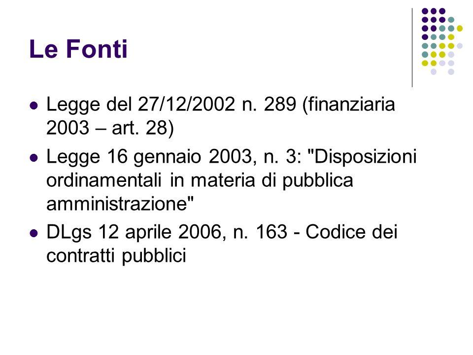 Le Fonti Legge del 27/12/2002 n. 289 (finanziaria 2003 – art.