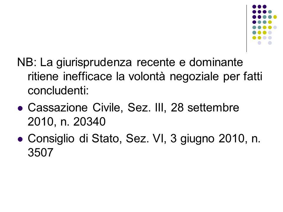 NB: La giurisprudenza recente e dominante ritiene inefficace la volontà negoziale per fatti concludenti: Cassazione Civile, Sez.