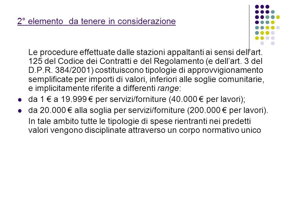 Le procedure effettuate dalle stazioni appaltanti ai sensi dellart. 125 del Codice dei Contratti e del Regolamento (e dellart. 3 del D.P.R. 384/2001)