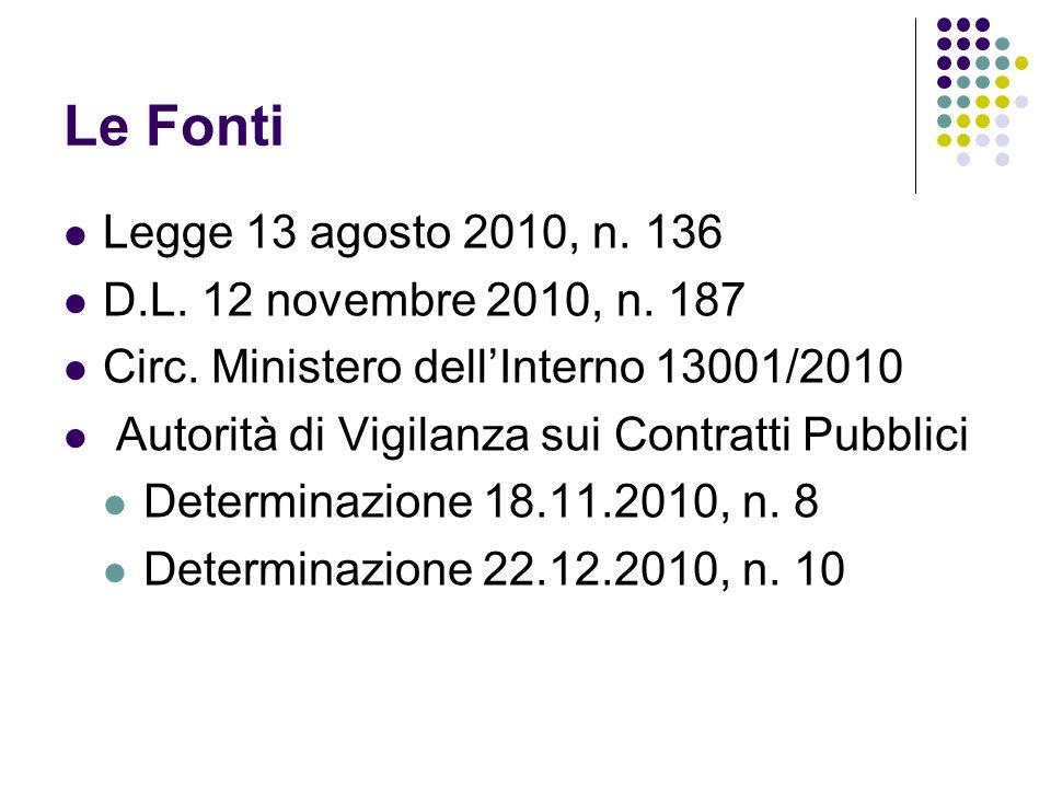 Le Fonti Legge 13 agosto 2010, n. 136 D.L. 12 novembre 2010, n. 187 Circ. Ministero dellInterno 13001/2010 Autorità di Vigilanza sui Contratti Pubblic
