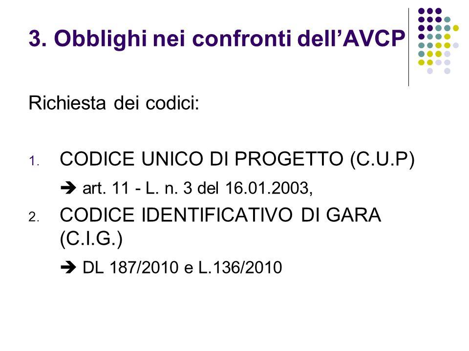 3. Obblighi nei confronti dellAVCP Richiesta dei codici: 1. CODICE UNICO DI PROGETTO (C.U.P) art. 11 - L. n. 3 del 16.01.2003, 2. CODICE IDENTIFICATIV