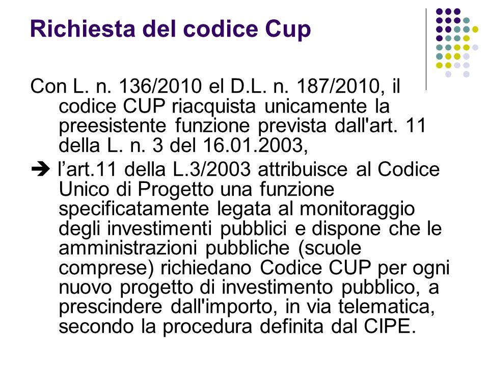 Richiesta del codice Cup Con L. n. 136/2010 el D.L. n. 187/2010, il codice CUP riacquista unicamente la preesistente funzione prevista dall'art. 11 de