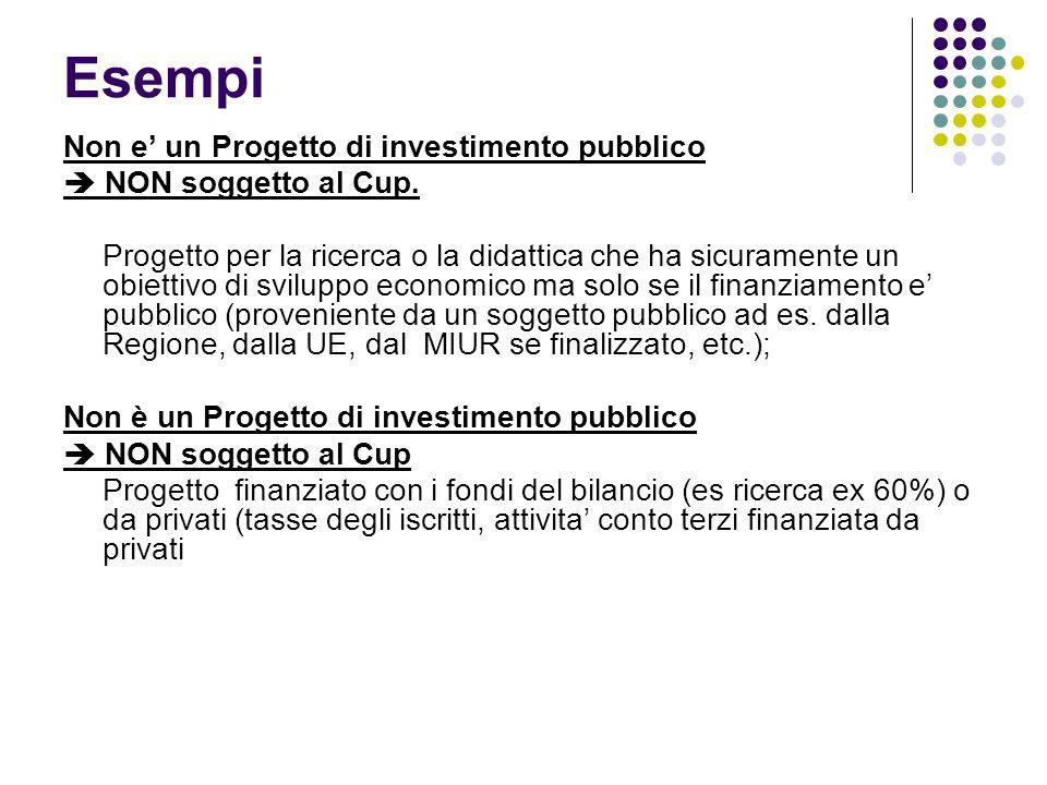 Esempi Non e un Progetto di investimento pubblico NON soggetto al Cup. Progetto per la ricerca o la didattica che ha sicuramente un obiettivo di svilu