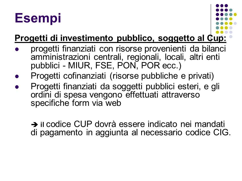 Esempi Progetti di investimento pubblico, soggetto al Cup: progetti finanziati con risorse provenienti da bilanci amministrazioni centrali, regionali,
