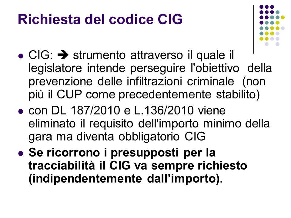 Richiesta del codice CIG CIG: strumento attraverso il quale il legislatore intende perseguire l'obiettivo della prevenzione delle infiltrazioni crimin