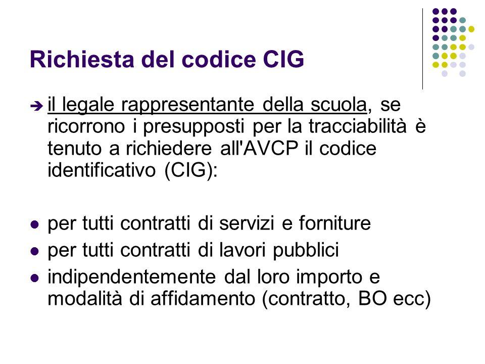 Richiesta del codice CIG il legale rappresentante della scuola, se ricorrono i presupposti per la tracciabilità è tenuto a richiedere all'AVCP il codi