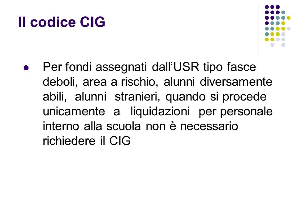 Il codice CIG Per fondi assegnati dallUSR tipo fasce deboli, area a rischio, alunni diversamente abili, alunni stranieri, quando si procede unicamente a liquidazioni per personale interno alla scuola non è necessario richiedere il CIG