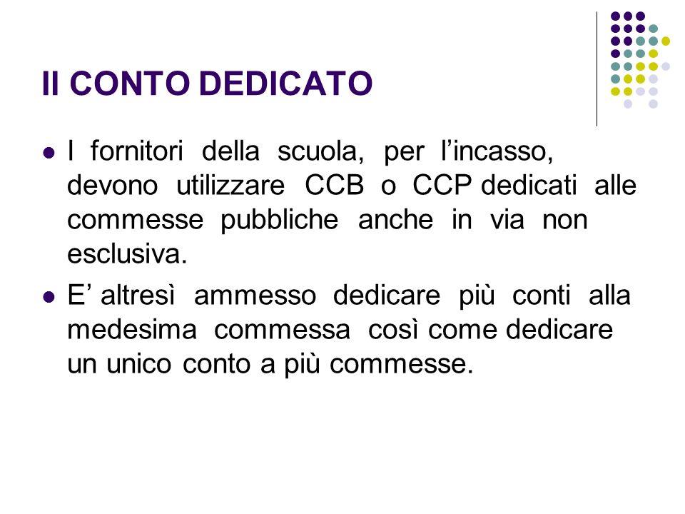 Il CONTO DEDICATO I fornitori della scuola, per lincasso, devono utilizzare CCB o CCP dedicati alle commesse pubbliche anche in via non esclusiva. E a