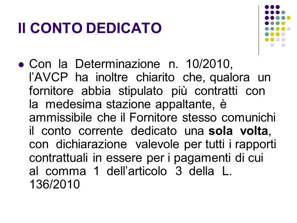Il CONTO DEDICATO Con la Determinazione n. 10/2010, lAVCP ha inoltre chiarito che, qualora un fornitore abbia stipulato più contratti con la medesima