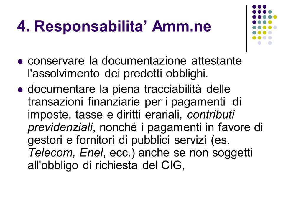 4. Responsabilita Amm.ne conservare la documentazione attestante l'assolvimento dei predetti obblighi. documentare la piena tracciabilità delle transa