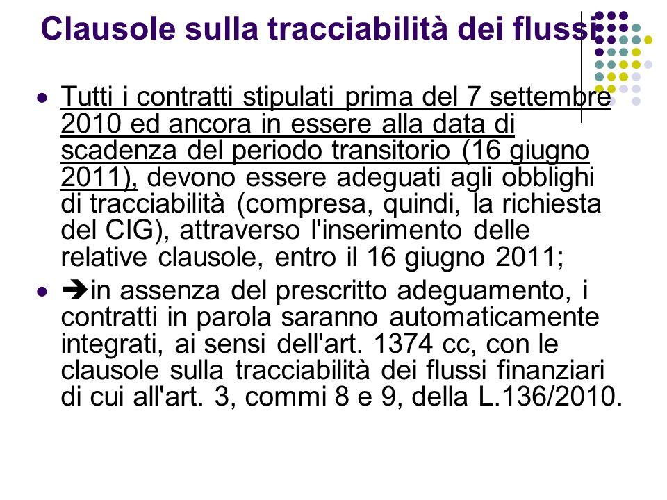 Clausole sulla tracciabilità dei flussi Tutti i contratti stipulati prima del 7 settembre 2010 ed ancora in essere alla data di scadenza del periodo t