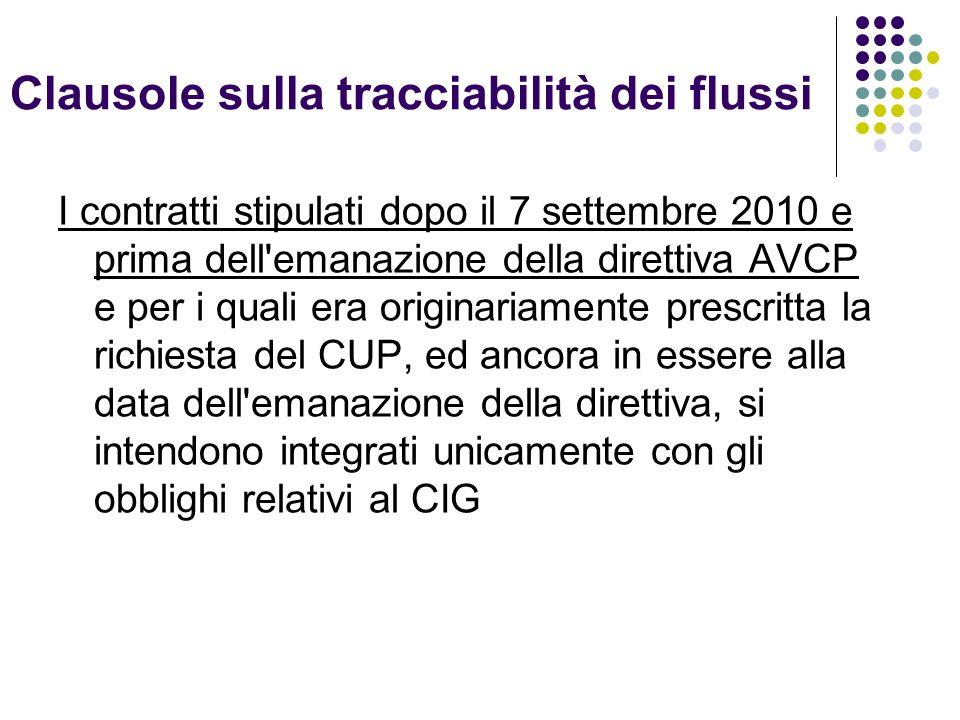 Clausole sulla tracciabilità dei flussi I contratti stipulati dopo il 7 settembre 2010 e prima dell'emanazione della direttiva AVCP e per i quali era