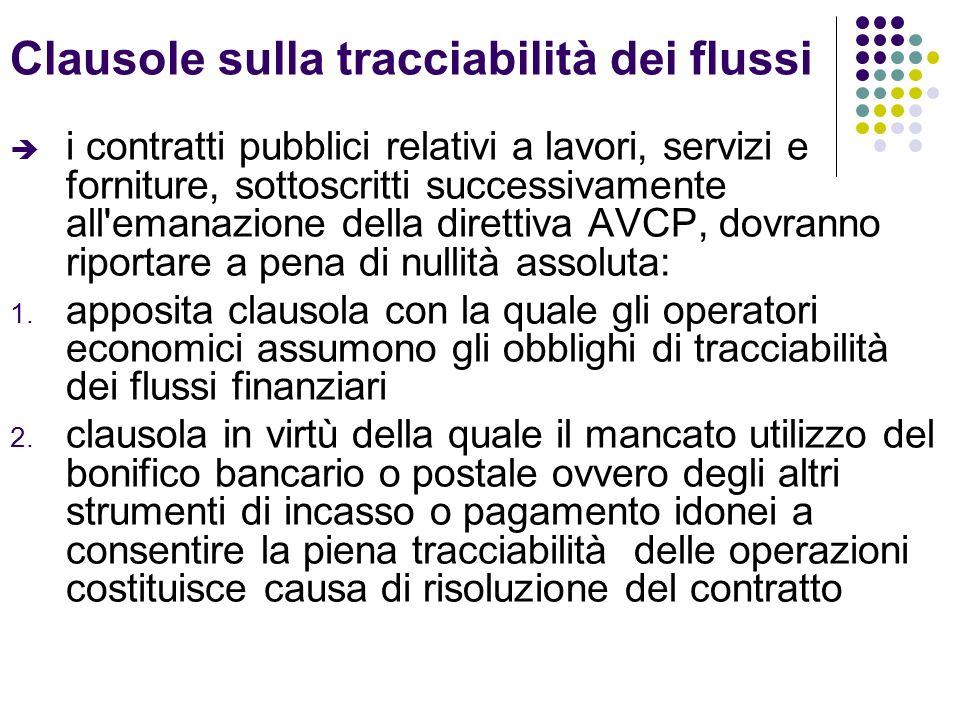 Clausole sulla tracciabilità dei flussi i contratti pubblici relativi a lavori, servizi e forniture, sottoscritti successivamente all emanazione della direttiva AVCP, dovranno riportare a pena di nullità assoluta: 1.