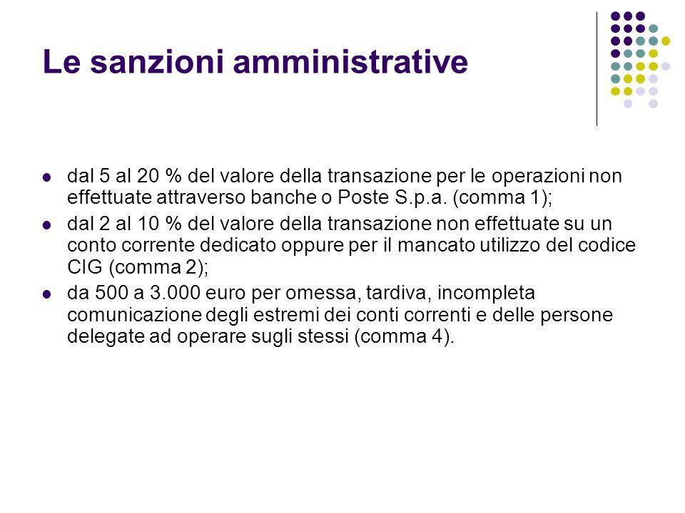 dal 5 al 20 % del valore della transazione per le operazioni non effettuate attraverso banche o Poste S.p.a. (comma 1); dal 2 al 10 % del valore della