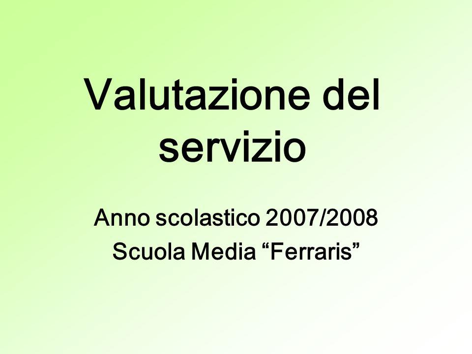 Valutazione del servizio Anno scolastico 2007/2008 Scuola Media Ferraris