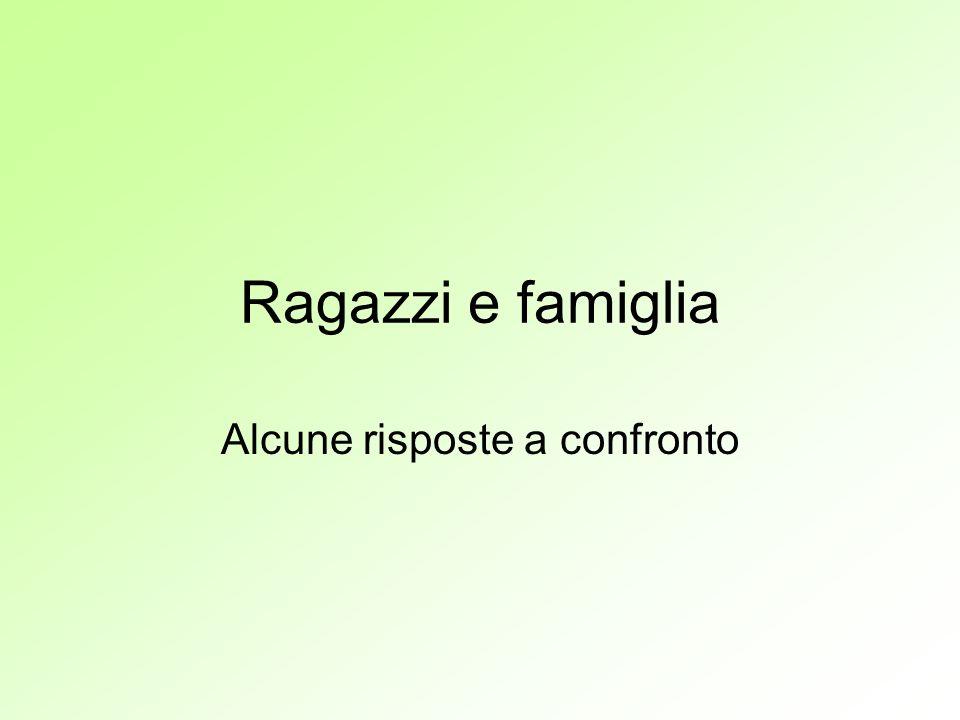 Ragazzi e famiglia Alcune risposte a confronto