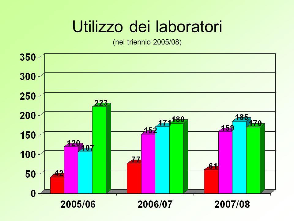 Utilizzo dei laboratori (nel triennio 2005/08)