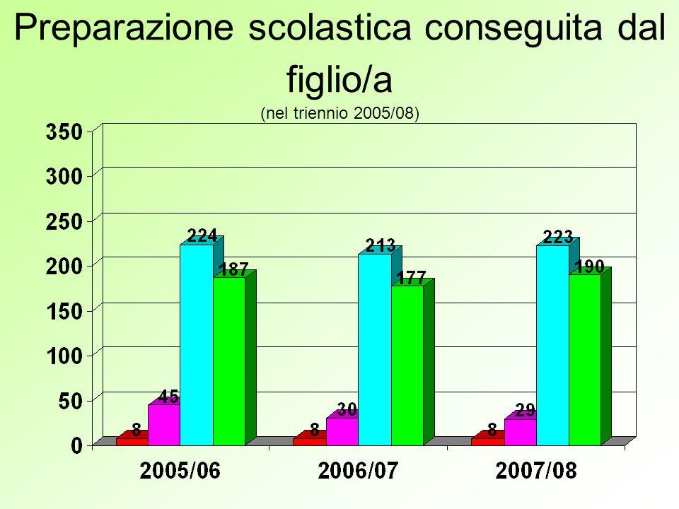 Preparazione scolastica conseguita dal figlio/a (nel triennio 2005/08)