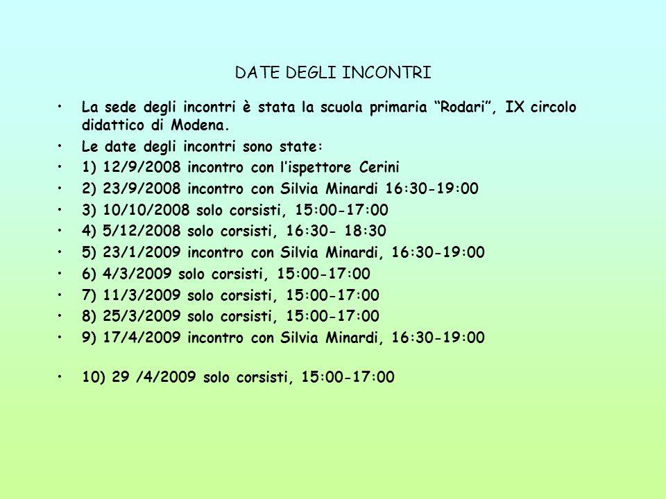 DATE DEGLI INCONTRI La sede degli incontri è stata la scuola primaria Rodari, IX circolo didattico di Modena.