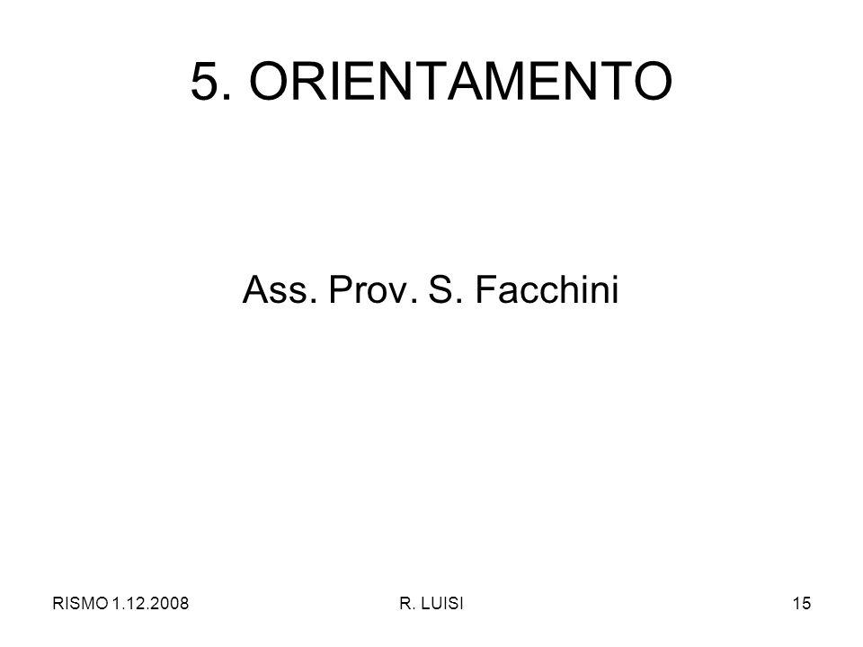 RISMO 1.12.2008R. LUISI15 5. ORIENTAMENTO Ass. Prov. S. Facchini