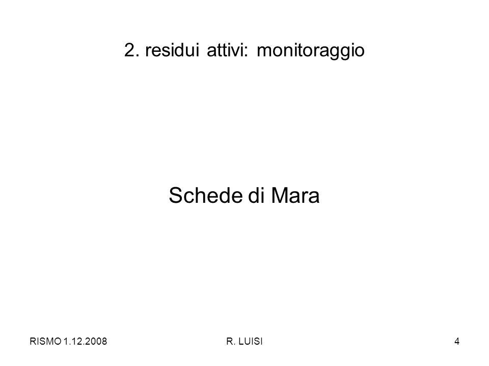 RISMO 1.12.2008R. LUISI4 2. residui attivi: monitoraggio Schede di Mara
