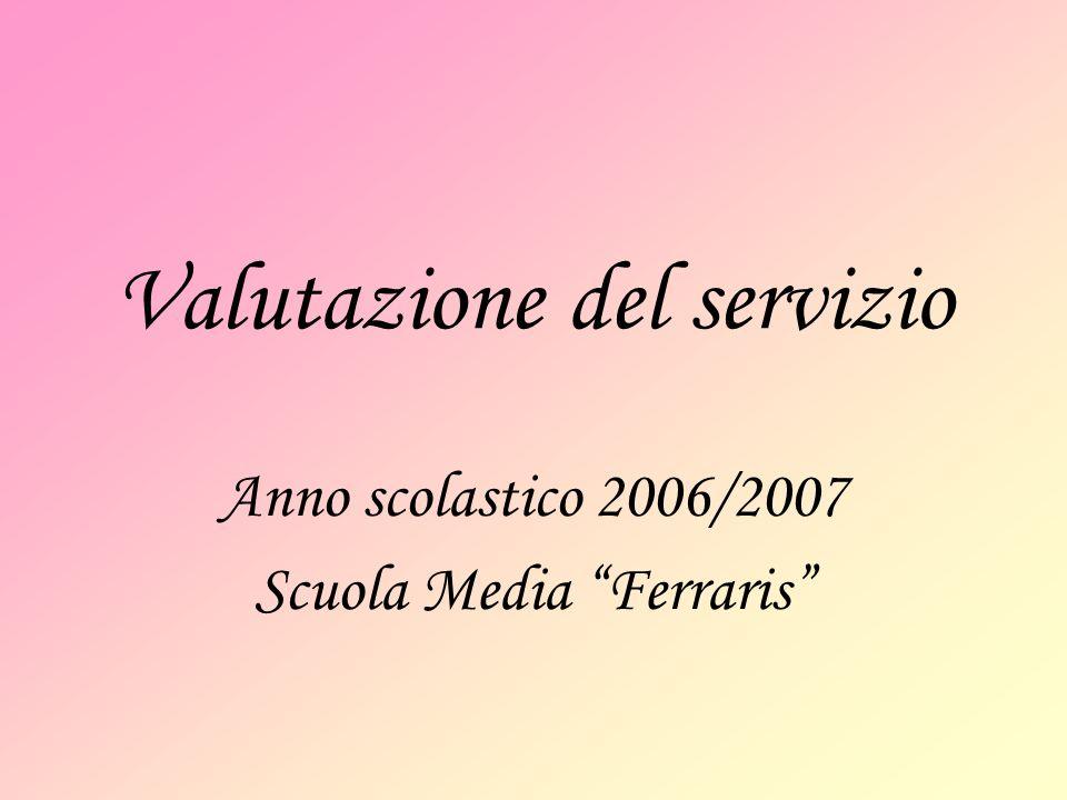 Valutazione del servizio Anno scolastico 2006/2007 Scuola Media Ferraris