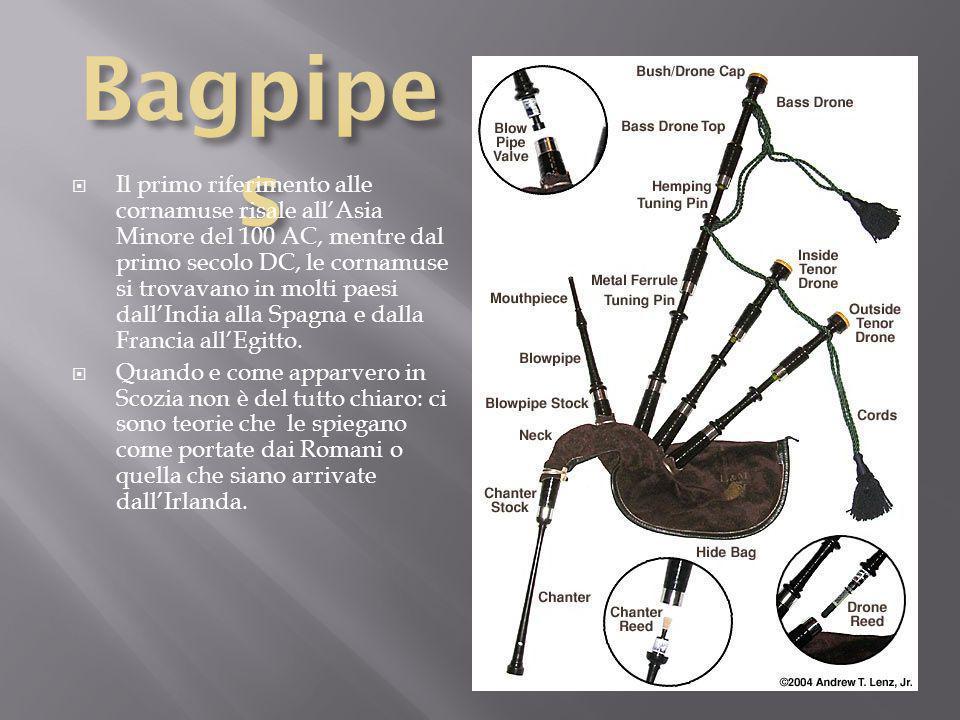 Il primo riferimento alle cornamuse risale allAsia Minore del 100 AC, mentre dal primo secolo DC, le cornamuse si trovavano in molti paesi dallIndia alla Spagna e dalla Francia allEgitto.