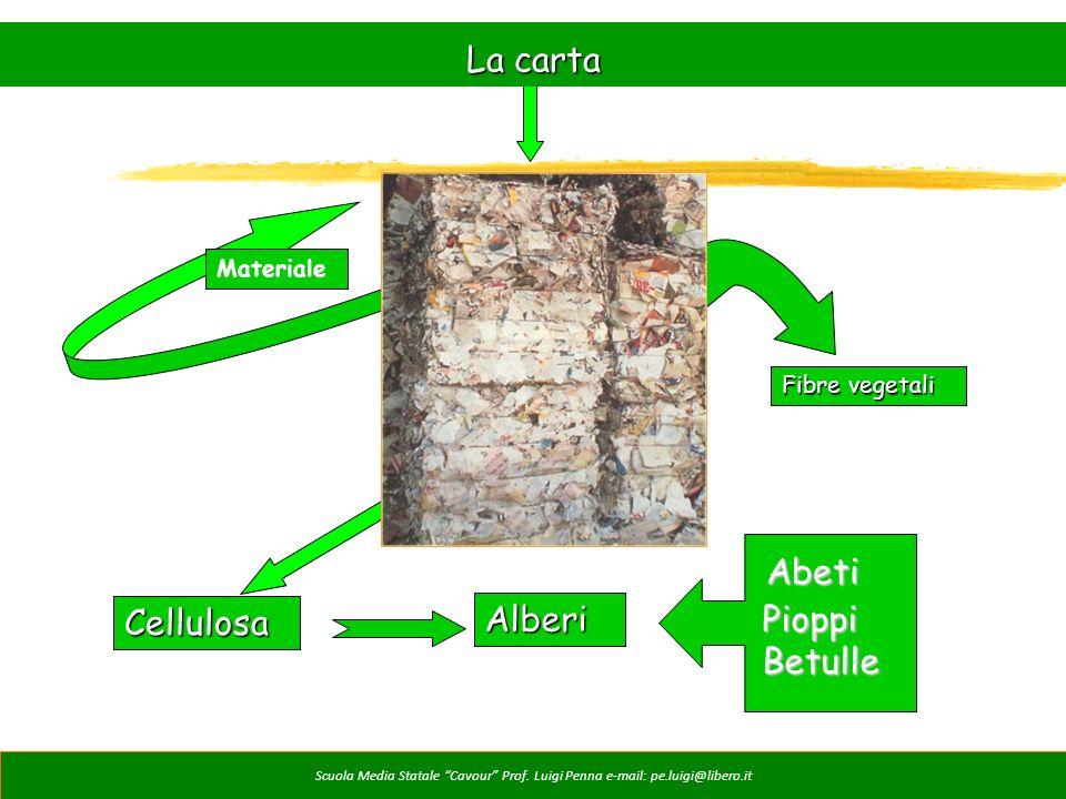 Materiale Fibre vegetali Cellulosa Alberi Pioppi Betulle Abeti La carta Scuola Media Statale Cavour Prof. Luigi Penna e-mail: pe.luigi@libero.it