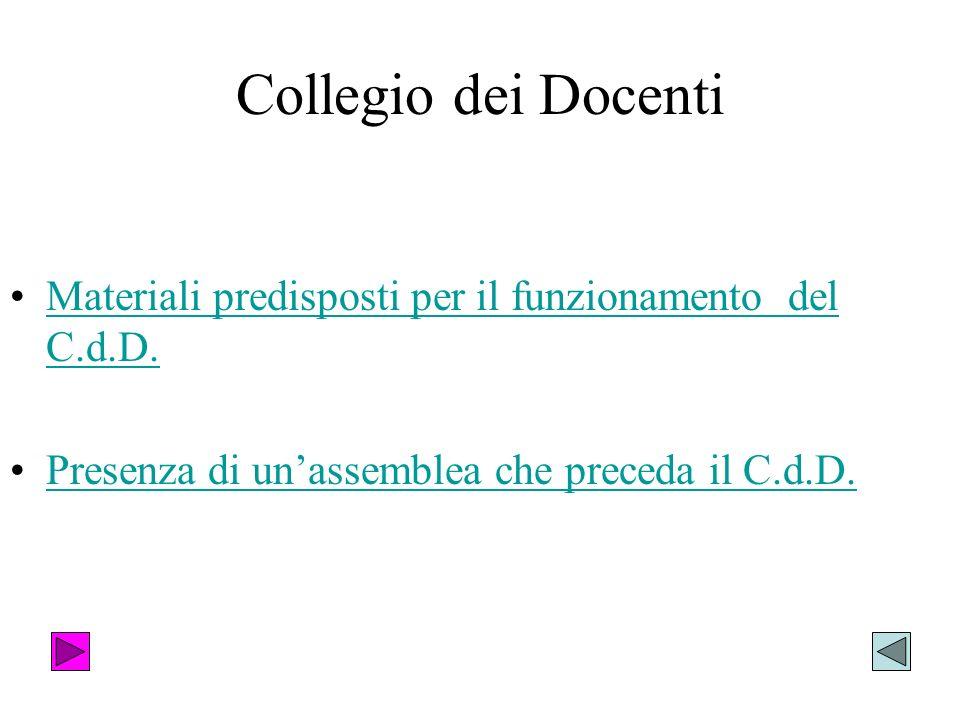 Collegio dei Docenti Materiali predisposti per il funzionamento del C.d.D.Materiali predisposti per il funzionamento del C.d.D. Presenza di unassemble