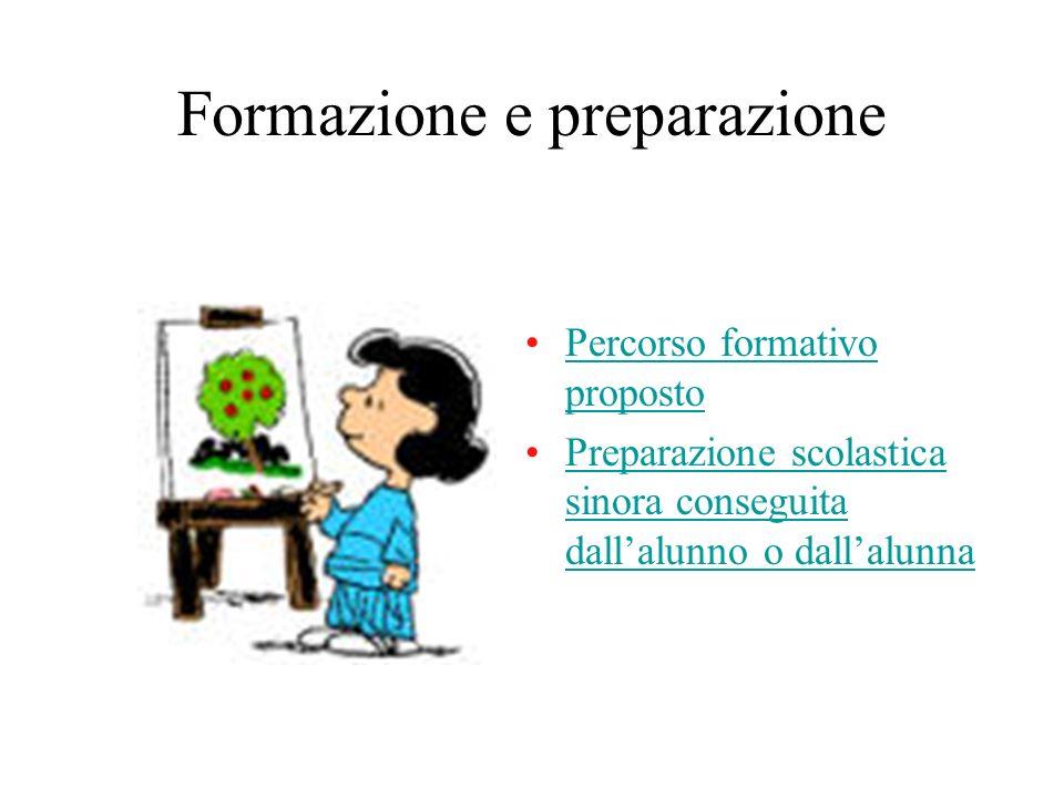 Formazione e preparazione Percorso formativo propostoPercorso formativo proposto Preparazione scolastica sinora conseguita dallalunno o dallalunnaPrep