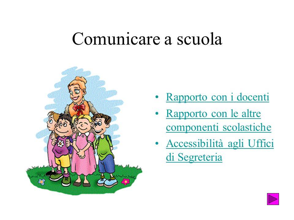 Comunicare a scuola Rapporto con i docenti Rapporto con le altre componenti scolasticheRapporto con le altre componenti scolastiche Accessibilità agli