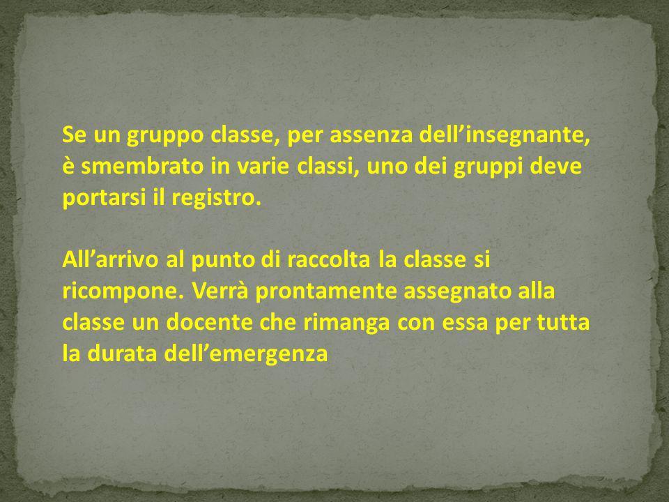 Se un gruppo classe, per assenza dellinsegnante, è smembrato in varie classi, uno dei gruppi deve portarsi il registro.
