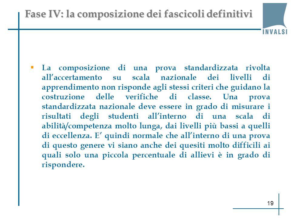 Fase IV: la composizione dei fascicoli definitivi La composizione di una prova standardizzata rivolta allaccertamento su scala nazionale dei livelli di apprendimento non risponde agli stessi criteri che guidano la costruzione delle verifiche di classe.