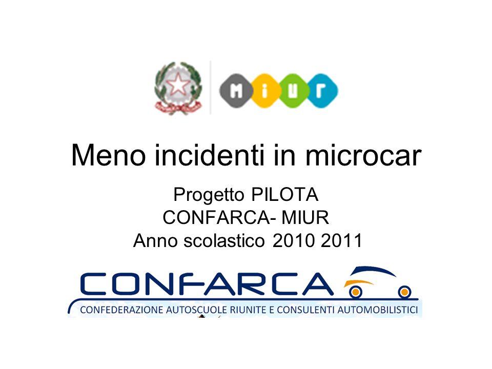 Meno incidenti in microcar Progetto PILOTA CONFARCA- MIUR Anno scolastico 2010 2011