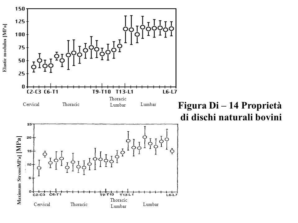 Elastic modulus [MPa] CervicalThoracic Lumbar Maximum StresséMPa] [MPa] CervicalThoracic Lumbar Figura Di – 14 Proprietà di dischi naturali bovini