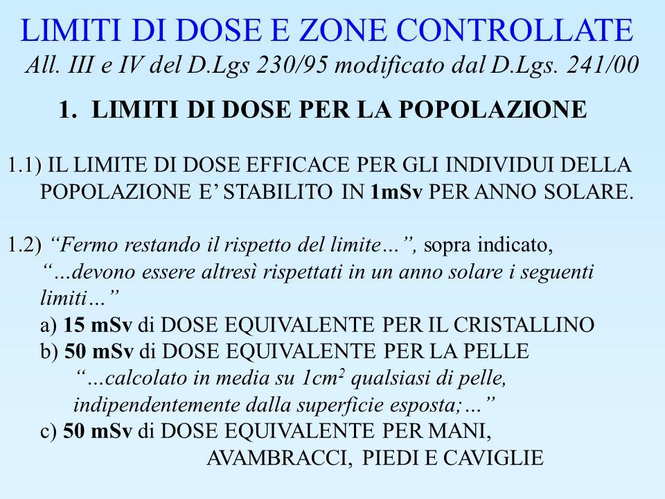 LIMITI DI DOSE E ZONE CONTROLLATE 2.CLASSIFICAZIONE DEI LAVORATORI IL LIMITE DI DOSE EFFICACE PER I LAVORATORI ESPOSTI E STABILITO IN 20mSv IN UN ANNO SOLARE.